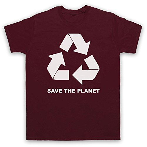 My Icon Men's Recycle Save The Planet T-Shirt, Maroon, 2XL