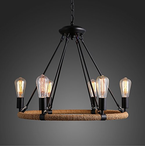 Country Old Iron Pendant - Industrial hemp retro American country wrought iron lamp creative living room chandelier Old Bar Cafe