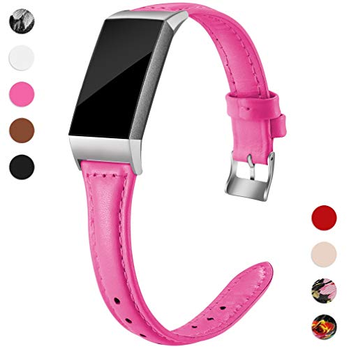 Hamile Slim Bands Compatible for Fitbit Charge 3, Genuine Leather Replacement Band for Fitbit Charge 3 and Charge 3 SE, Women, Large, Pink