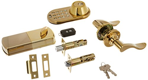 MiLocks XFL-02P Digital Deadbolt Door Lock and Passage Lever Handle Combo with Keyless Entry via Remote Control and Keypad Code for Exterior Doors, Polished Brass MiProducts Corporation