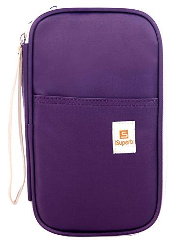iSuperb Passport Wallets Organizer Waterproof Polyester Travel Wallet Purse Bag with Document...