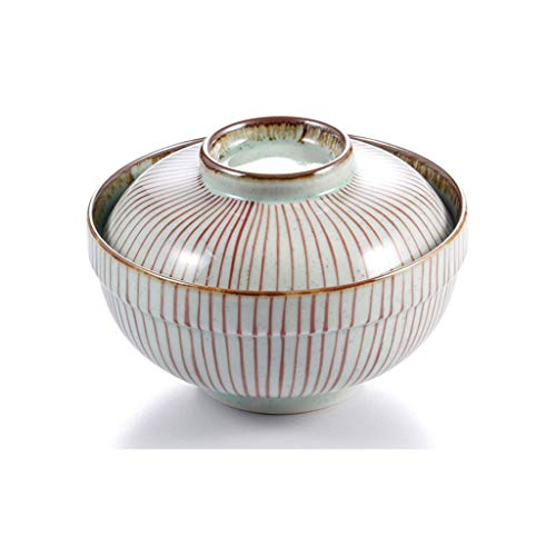 WZJ-BOWL Large Ceramic Bowl with Lid Bowl, Underglaze Foam Noodle Bowl, Stewed Japanese Rice Bowl (Color : D)