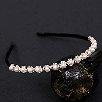 Horquilla de Perlas Corea del Sur Sencillo de Diamante Cintas for el Pelo Arco Dulce Femeninos de Corea Accesorios for el Cabello Temperamento presión Diadema Tocado de Pelo Fino Casco con c