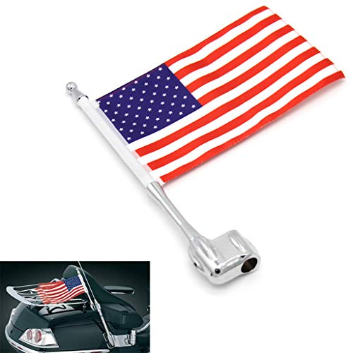 Motocycle Aluminum Rear Side Mount Luggage Rack Antenna Vertical Flag Pole For Honda GL1800 GL1500 Goldwing All Years (United States) (Motorcycle Antenna Mount)