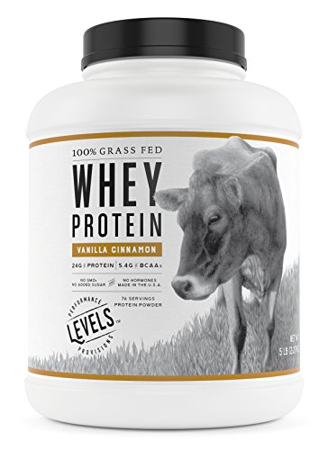 Levels 100% Grass Fed Whey Protein, No GMOs, Vanilla Cinnamon, 5LB (Best Diet Whey Protein Powder)