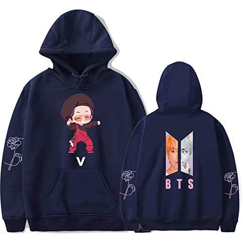 KAPAIDASHI BTS, V antiProiettile Junior Group Abbigliamento 2018 Nuova Edizione Q Teen Trend Uomini e Donne Hooded Camicie con Cappuccio,Chrome,XXXL