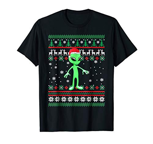 Alien with Santa Hat Ugly Christmas Shirt