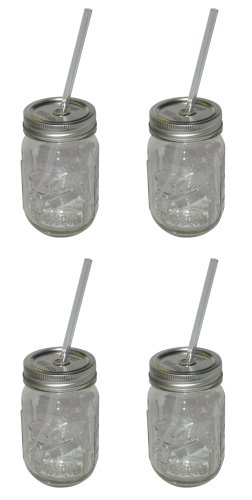 4-Pack Sipper Drinking Jar, 16-Ounce