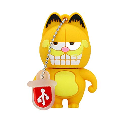 USB Flash Disk Memory Stick Solid Color Metal Waterproof and Portable High Speed USB3.0 Metal 4GB/16GB/32GB/64GB/128GB (16GB, Garfield A)