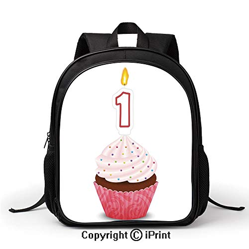 (Travel Waterproof School Bag Kitchen Cuisine Inspired Pastry Cupcake Party with Candle Backpack :Suitable for Men and Women,School,Travel,Daily use,etc,Hot Pink and White)