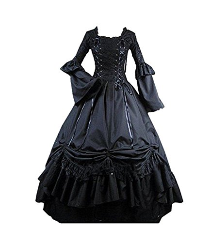 Vintage Costumes (Hello-cos Womens Black Vintage Gothic Square Collar Victorian Party Dress (M))