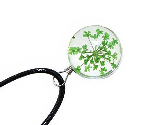 Flower Pendant Bracelet (Handmade Real Dry Flower Plant Glass Ball Pendant Design Rope Bracelet for Women & Girls (Babys Breath Green))