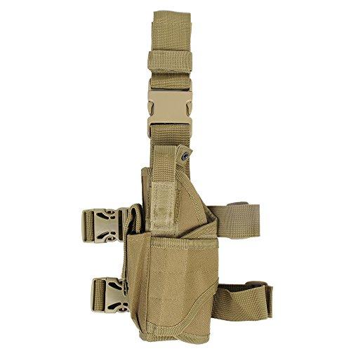 [Tactical Drop Leg Holster - Universal Adjustable Pistol Hand Gun Drop Leg Thigh Holster (Tan-Left] (Leg Gun Holster Costumes)