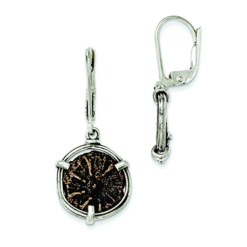 - Sterling Silver Antiqued Widows Mite Coin Leverback Earrings