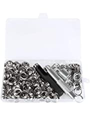 BUYGOO 150Pcs 1/2 Inch Grommet Kit for Tarpaulin, Fabric, Curtains and Craft Making, Tarpaulin Repair Kit with Punch Hole Tool and Fastened Tool (Come with a Plastic Box)