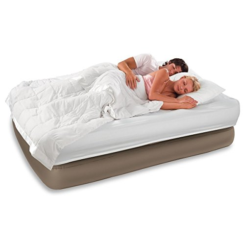 INTEX Queen Raised Air Bed Guest Airbed Mattress with Built-In Pump