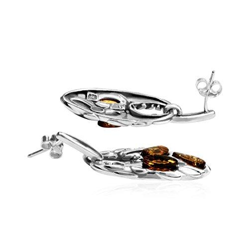 Ambre Argent Sterling Griffe Set Boucles d'oreilles pendentif collier corde 43cm