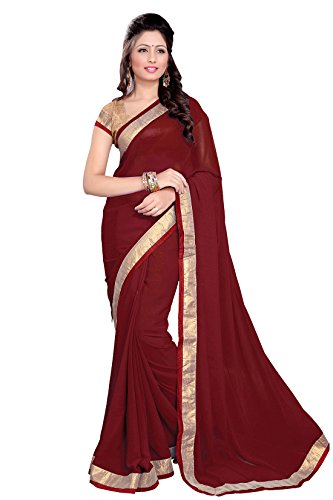 Mirchi Fashion Women's Faux Georgette Lace Work Wedding Saree Free Size Maroon