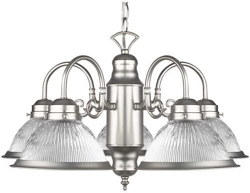 Sunset Lighting F6313-53 Five Light Chandelier, Satin Nickel Finish with Clear Prismatic Glass