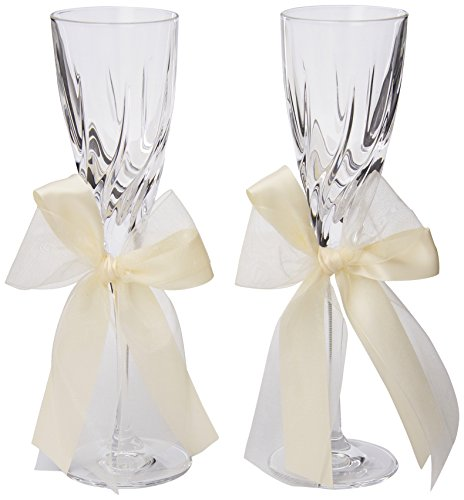 (Ivy Lane Design Tres Beau 24-Percent Lead Crystal Toasting Flutes, Set of 2, Ivory)