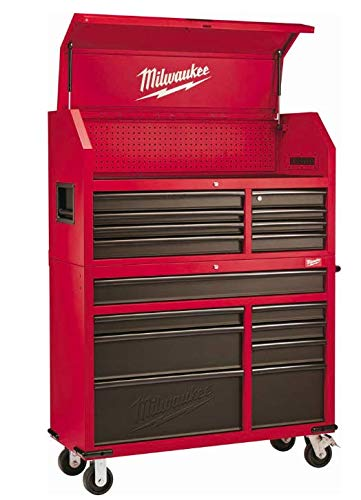 Heavy-duty, Drawer 16 Tool Chest 46 In. and Rolling Cabinet Set, Red and Black, Personal Valuables Storage Drawer with Separate Lock in the Tool Chest