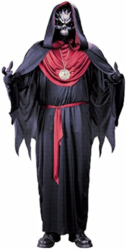 [Ponce Mens Emperor of Evil Costume DELUXE Reaper Robe Mask Zombie Skeleton] (Priest Halloween Costume Deluxe)