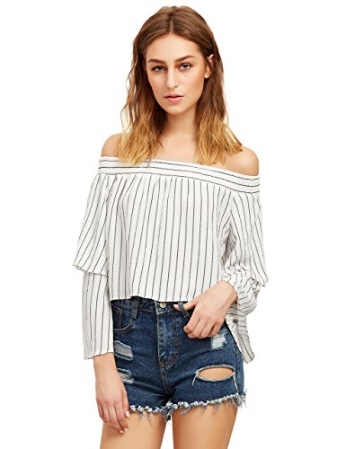 SheIn Womens Shoulder Striped Layered