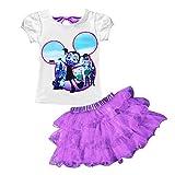 AOVCLKID Vampirina Little Girls' 2Pcs Suit Cartoon Shirt and Skirt Set (Purple,130/5-6Y)