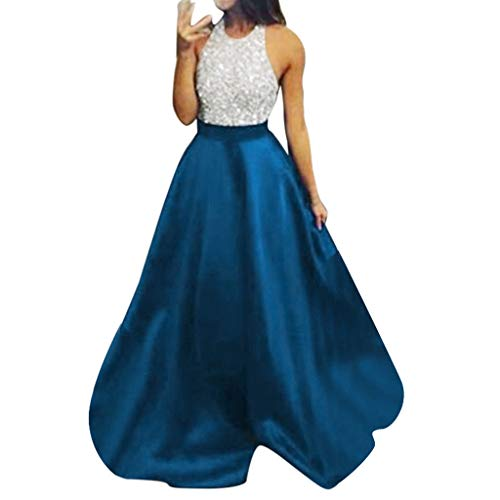 AgrinTol Women Sexy Evening Bridesmaid Halter Long Dresses Formal Prom Party Ball Gown (M, Light Blue)