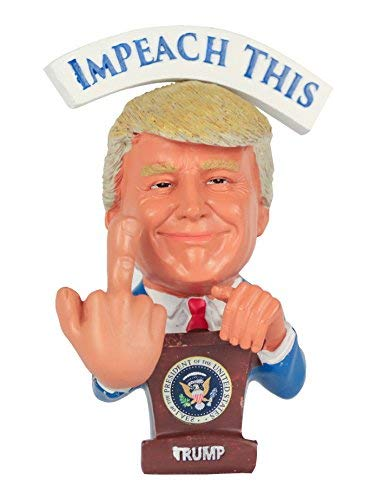 """Donald Trump Bobblehead – Bobbling Middle Finger For Your Liberal & Democrat Friends – President Trump Reversible Political Gag Gift """"Impeach This"""" & """"You're Fired"""" On Each Side ()"""