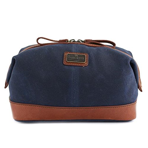 Navy Langdale Dopp Kit made with 20oz British Woven Waxed Canvas and Full Grain Veg Leather Trim by The British Belt Co.