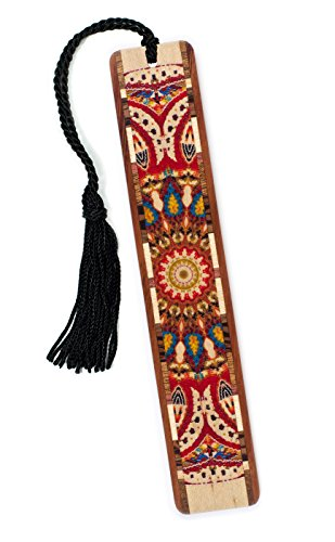Quilt – Kaleidoscope Design Wooden Bookmark on Maple with Tassel