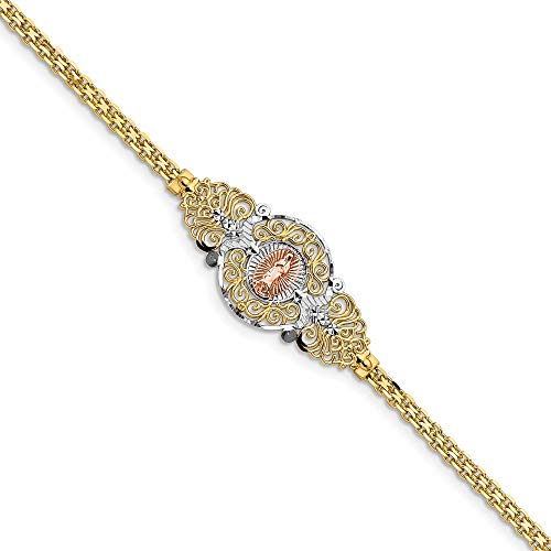 14k Two Tone Yellow Gold Our Lady Of Guadalupe Bracelet 7 Inch Religious Fine Jewelry Gifts For Women For Her ()