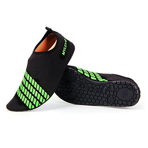 HYSENM Women Mens Kids Quick Dry Elastic Barefoot Skin Water Shoes Beach Surf Swim Exercise Aqua Socks green CEhJOu93