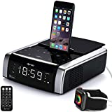 dpnao iPhone Docking Station Charging Speaker Alarm Clock for iPhone Xs, XS Max, XR, X, iPhone 8, 7,6 Plus, with Bluetooth USB Port Touch Key Remote (Apple Mfi Certified)