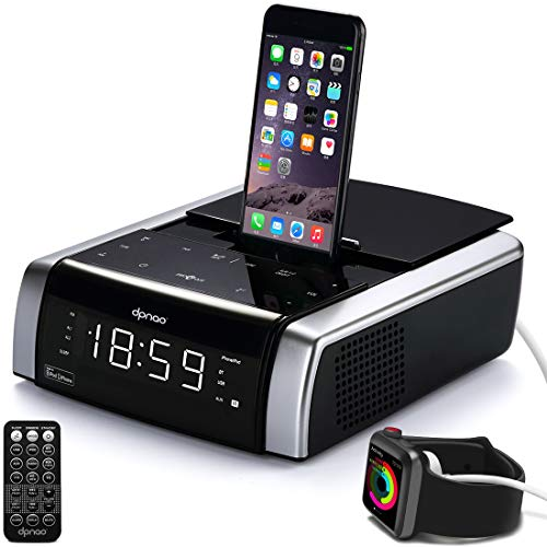 dpnao iPhone Docking Station Charging Speaker Alarm Clock for iPhone Xs, XS Max, XR, X, iPhone 8, 7,6 Plus, with Bluetooth USB Port Touch Key Remote (Apple Mfi Certified) (Best Docking Station For Iphone 7)