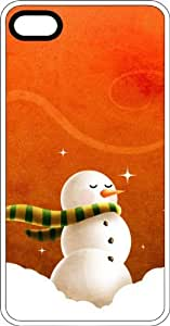 Snowman & Scarf on Orange Background Clear Plastic Case for Apple iPhone 4 or iPhone 4s