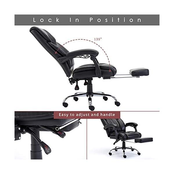 Fauteuil de Bureau avec Repose Pieds Rembourré Pliable, Chaise pour Ordinateur Ergonomique, Dossier Réglable et…