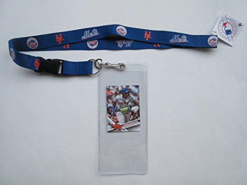 NEW YORK METS LANYARD WITH TICKET HOLDER PLUS COLLECTIBLE PLAYER CARD (Mets Lanyard York New)