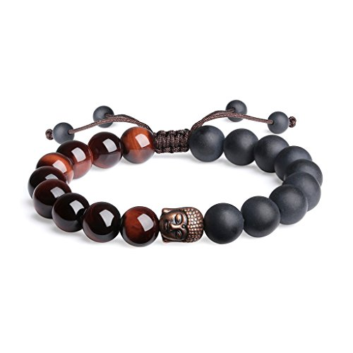 COAI Natural Red Tiger Eye and Matte Onyx Buddhist Prayer Bead Bracelet for Men