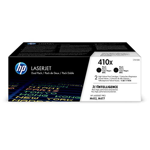 HP 410X (CF410X) Toner Cartridge, Black High Yield, 2 Toner Cartridges for HP Color LaserJet Pro M452dn M452dw M452nw MFP M377dw MFP M477fdn MFP M477fdw MFP M477fnw - CF410XD (Packaging may vary)
