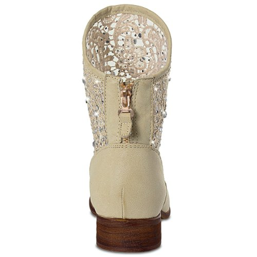 CASPAR Ladies Cowboy Ankle Boots with Lace and Rhinestones - many colours - SBO022 Beige rMvmibB