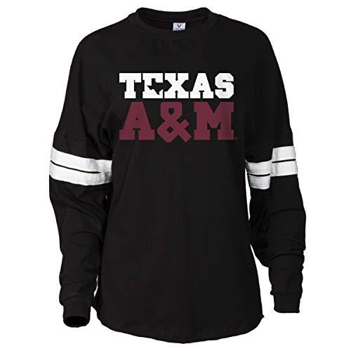 (Official NCAA Texas A&M Aggies Women's Striped Oversized Football Tee)