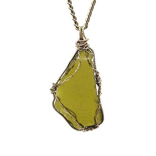 Rare Citron Green Sea Glass Necklace | Statement Bohemian Jewelry | Beach Glass Lover Gifts | 18 Inch ()