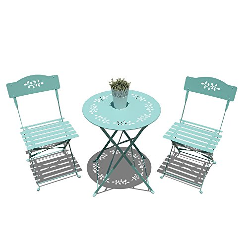 OC Orange-Casual 3-Piece Floral Bistro Set, Steel Folding Dining Table and Chairs Garden Backyard Outdoor Furniture Set, Decorative Design-Turquoise (Bench Steel Outdoor)