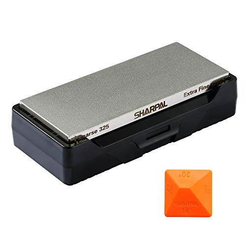 SHARPAL 156N Diamond Whetstone Knife Sharpener with Storage Base | 2 Side Grit Coarse 325 / Extra Fine 1200 | Diamond Sharpening Stone | NonSlip Base & Angle Guide (6 ()