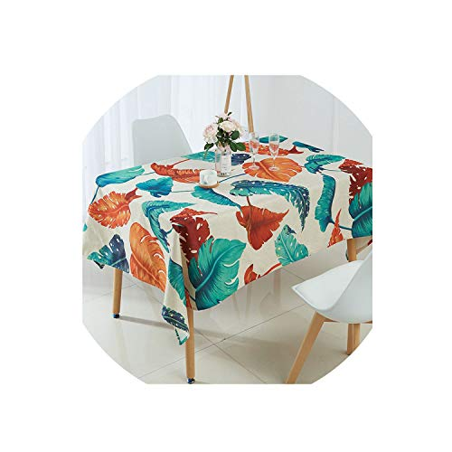 (Ge-store Tablecloth Tropical Banana Leaf Waterproof Table Cloth,E,100X140Cm)