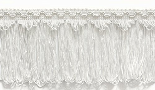 Loop Fringe - 4 Inch Long Loop Fringe Trim, Style# CLF4 Color: WHITE - A1, Sold By the Yard