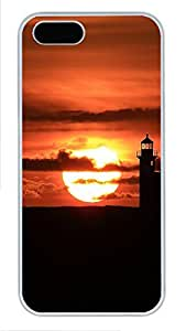 iPhone 5 5S Case Landscapes Lighthouse Sunset PC Custom iPhone 5 5S Case Cover White