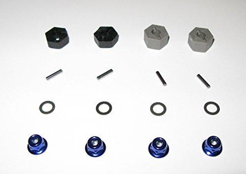 Traxxas 12MM Wheel Hexs, Teflon Washers, Axle Pins and Blue Flanged Wheel Nuts - Complete Set of 4 - 1/10 Slash 2WD 1/10 Stampede XL-5 / VXL 1/10 Rustler XL-5 / VXL 1/10 Slash Dakar 1/10 Raptor Ford F-150 1/10 Nitro Slash